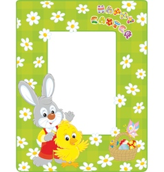 Easter border with Bunny and Chick vector