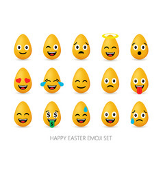 easter eggs emoji set cute funny emotional icons vector image