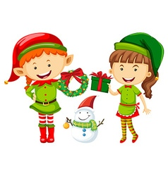 Elf and woman with christmas presents vector