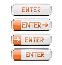 enter button with chrome frame white and orange vector image