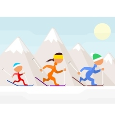 Family on ski vector image