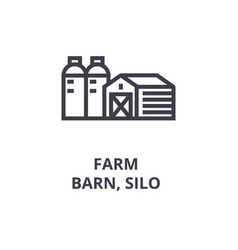 Farm barn silo line icon outline sign linear vector