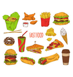 fast food dishes collection vector image