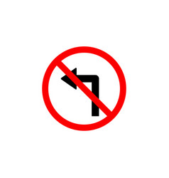 forbidden turn left icon can be used for web logo vector image