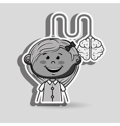Girl brain cable idea vector