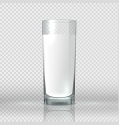 Glass milk realistic image transparent cup vector