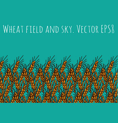 Gold wheat rye field and blue sky vector