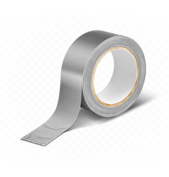 Gray silver duct roll adhesive tape realistic vector