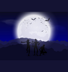 halloween zombies against moonlit sky vector image