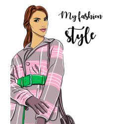 Hand drawn woman in coat fashion model vector