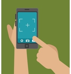 Hand hold phone capture photo design graphic vector