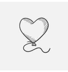 Heart balloon sketch icon vector