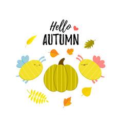 Hello autumn greeting banner with cartoon pumpkin vector