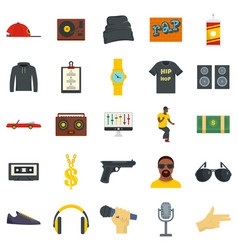 Hiphop rap swag music dance icons set flat style vector