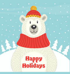 holiday card with polar bear vector image