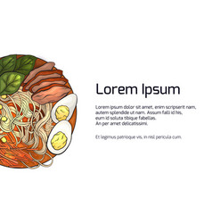 Horizontal banner with color ramen and place vector
