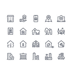 House line icons town houses city buildings vector