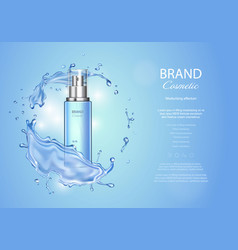 ice toner ads with blue water splash spray bottle vector image