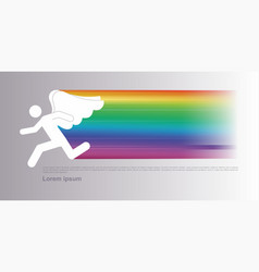 Icon a person running for happiness and good lu vector