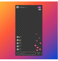 instagram stream interface social media live vector image