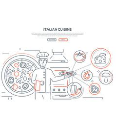 italian cuisine - line design style banner vector image
