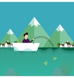 Man fishing in boat with mountain scenery behind vector