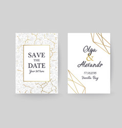 marble gold texture card wedding invitation vector image