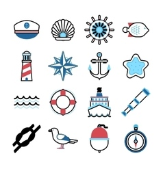 Marine sea icons set vector image