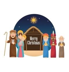 Mary joseph jesus and wise men design vector
