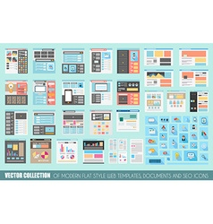 Mega Collection of Flat Style Website templates vector image
