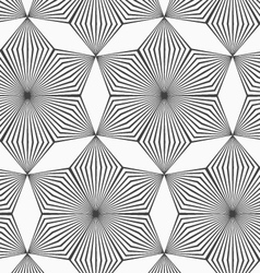 Monochrome gray striped six pedal rhombus flowers vector