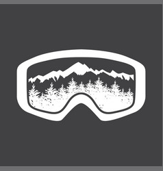 Mountains in reflection of ski mask lens vector