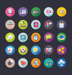 Network and communications coloured icons vector