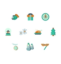 New Year party flat style icons set vector