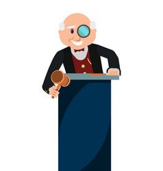 Old man auctioneer with gavel in auction house vector