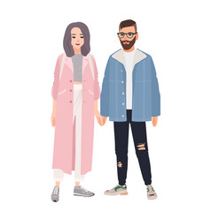 pair of hipster man and woman dressed in vector image