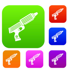 plastic gun toy set color collection vector image