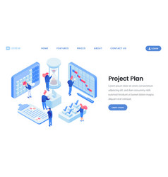 Project planning isometric website template vector