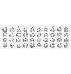 pumpkins doodle set vector image