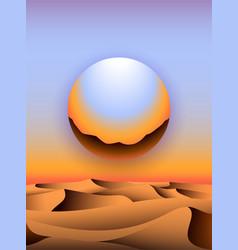 Retro 80s futuristic landscape design chrome vector
