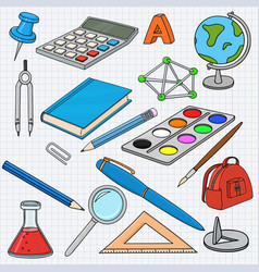 school doodle colored set stationery tools on vector image