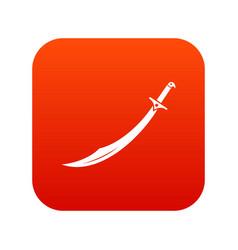 Scimitar sword icon digital red vector