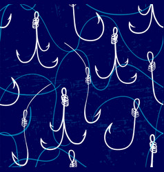 seamless pattern with fishing hooks ink hand drawn vector image