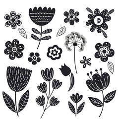 set isolated black flowers part 2 vector image