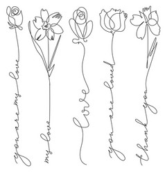 set line art flowers with lettering vector image