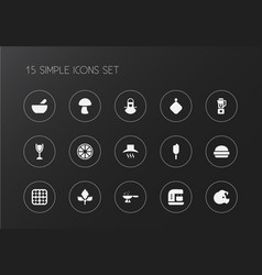 set of 15 editable cook icons includes symbols vector image