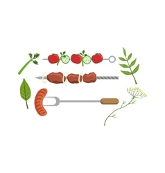Set Of Food Ready For Barbeque Picnic vector