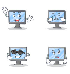 set of monitor character with happiness crying vector image