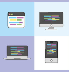 set software code data pragramming vector image