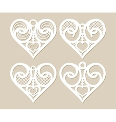 Set stencil lacy hearts with openwork pattern vector